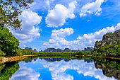 Nong Thale, peaceful lake in Krabi, famous tourist destination for photography during sunrise