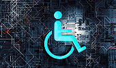 Accessibility icon with wheelchair and technology abstract background.3d illustration.