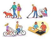 Vector Illustration couple everyday life set