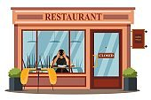 Business collapse crisis at restaurant. Economy fail due to covid epidemic vector illustration. Empty restaurant or cafe, depressed man sitting inside. Stress, burnout and bankruptcy in company