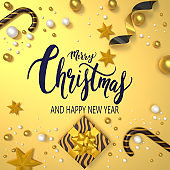 Christmas New Year Greeting Card Background with Gold and Glitter