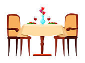 Table with dishes, romantic dinner at restaurant isolated