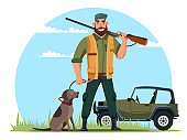 Vector characters hunter with gun and dog on hunt
