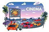 Outdoor cinema, open air movie night banner. Screen with film outdoor theatre vector illustration. People sitting in cars at festival, couple at car roof. City entertainment event ad with text