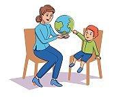Friendly teacher demonstrating globe to children
