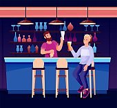 People in night bar or pub. Bartender at counter wiping glass, young happy man sitting and drinking beer. Modern recreation and rest vector illustration. Guy in restaurant on stool