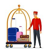 Bellboy with hotel luggage trolley person isolated