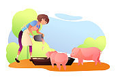 Girl feeding pigs flat vector illustration