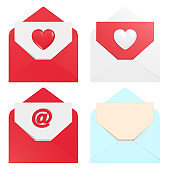 Four Different Envelope Designs For Love On White Background