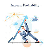 Increase profitability flat vector illustration. Income enhancing, revenue augmenting metaphor. Businessman raising arrow up cartoon character. Finance, business strategy, company growth concept.