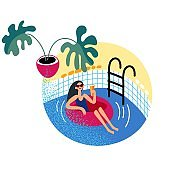Woman in swimsuit relaxation in pool, swimming in rubber ring