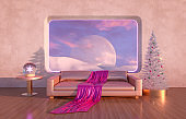 Abstract Winter Christmas scene with geometrical forms in natural day light.