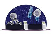Podium with mars rover and space satellite in astronomy museum