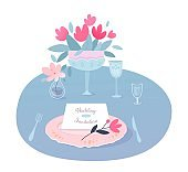 Wedding invitation on serving party table vector