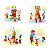 Clown performance for children cartoon circus set