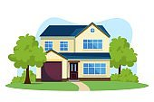 Modern front of house vector illustration