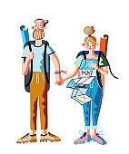 Man and woman travelers with backpacks standing. Young happy hipster couple. Girl looking at paper map. Trip or tour for people. Trekking, hiking. Active lifestyle. Vector illustration.
