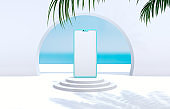 Natural summer beach backdrop with smart phone mockup. Abstract 3d summer scene. sea view. Online shopping concept.