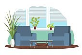 Modern living room interior design background. Room at home with two armchairs, mat, plants, table. Empty cosy area for rest and recreation vector illustration. Windows with blinds