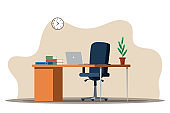 Vector flat Illustration of office interior design