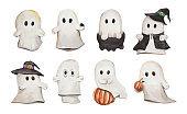 Watercolor set of eight cute vintage ghosts