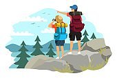 Couple trekking on mountain. Man and woman traveling in mountains, standing on top, girl looking in binoculars, man pointing with finger. Tourist outdoor scene vector. Climbing together