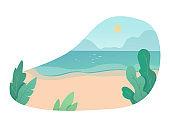 Tropical island flat vector color illustration