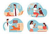 Doctor and animal patient in veterinary clinic set