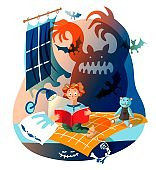Boy is reading horror book. Silhouette of scary ghost scares child