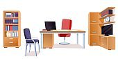 Modern office interior design elements. Chairs, table with computer monitor, cupboard with books and documents, tv and clock. Workplace furniture vector illustration on white background