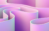 Abstract 3d art background with curve shape. Holographic color.
