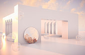 Abstract Autumn scene with geometrical forms, arch with a podium in natural day light.