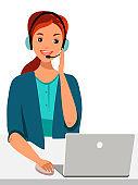 Vector character illustration hotline Call center