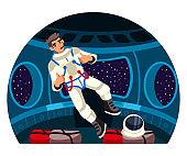 Vector astronaut levitating in spaceship cockpit