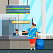 Overweight man traveler during check-in at airport
