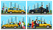 Taxi service for different people scene flat set