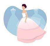 Beautiful gorgeous bride in wedding dress vector