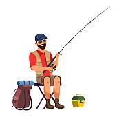 Vector character illustration of man with fishing rod isolated person