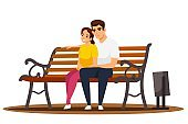 Woman and man sitting in public city park illustration. Healthy lifestyle outdoor vector. Young romantic couple sitting on bench in city park isolated on white background