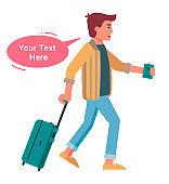 Man traveler with luggage speaking isolated on white