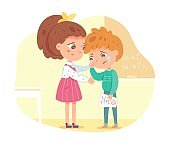 Friend supports and comforts sad kid in school. Empathy, compassion and love vector illustration. Boy crying after receiving bad mark on test. Girl consoling and caring, sympathy