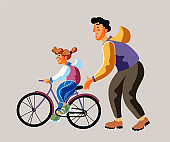 Cycling training color vector illustration