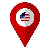 US flag location map pin vector illustration