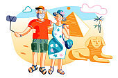 Mature married couple tourist visit Egypt pyramid