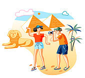 Friends in Egypt flat vector illustration