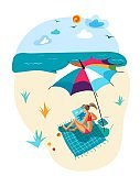 Vector woman drawing picture during rest on beach