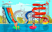 Amazing aqua park for adult and kid recreation