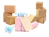 Set of gift cardboard boxes stacking on white background