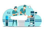 Vector character doctor surgeon operating patient
