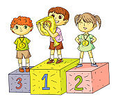 Happy kids standing on competition winner podium with gold trophy cup and medals. Medalists on sports pedestal. Cartoon children characters. Vector flat illustration.